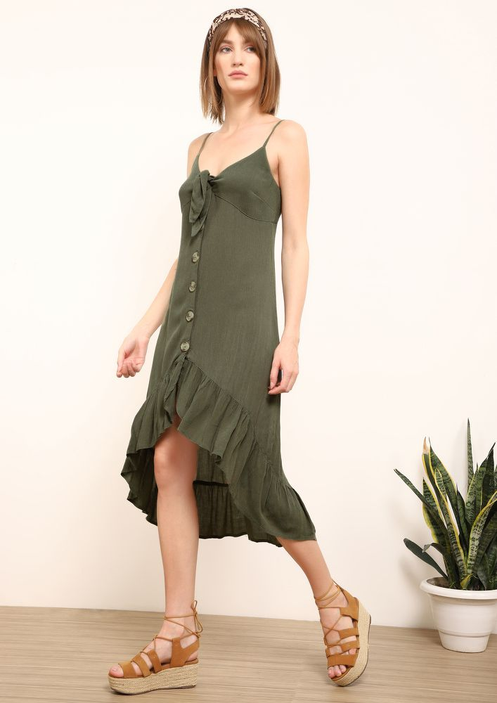 CUT TO PLAY OLIVE ASYMMETRIC DRESS