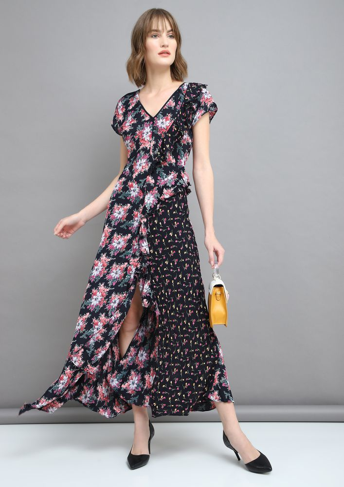 GROOVE WITH RUFFLES BLACK MAXI DRESS