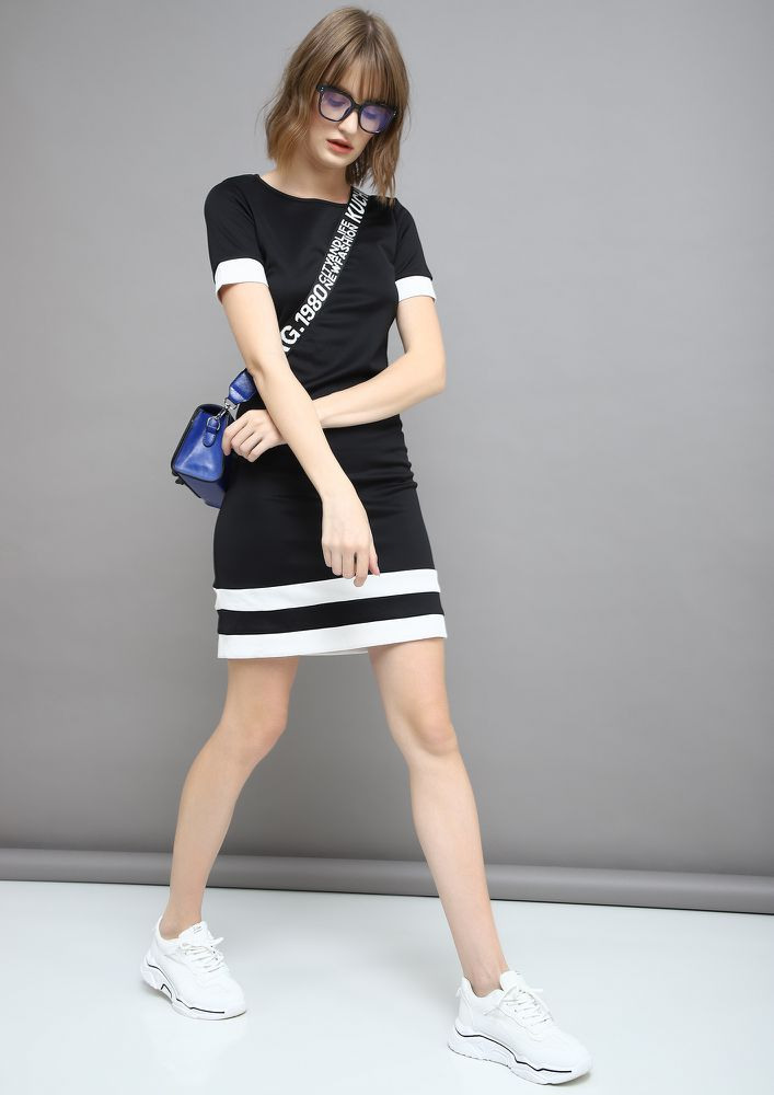 ALWAYS SMART AND SHARP  BLACK SHIFT DRESS