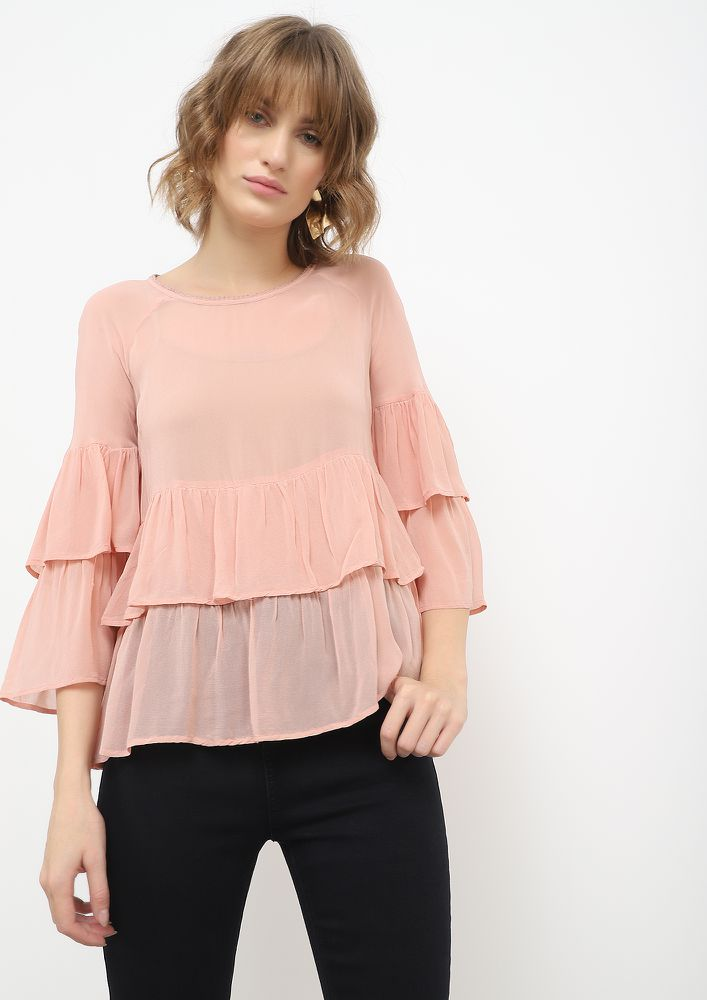 LAYERED EMOTIONS BLUSH PINK BLOUSE