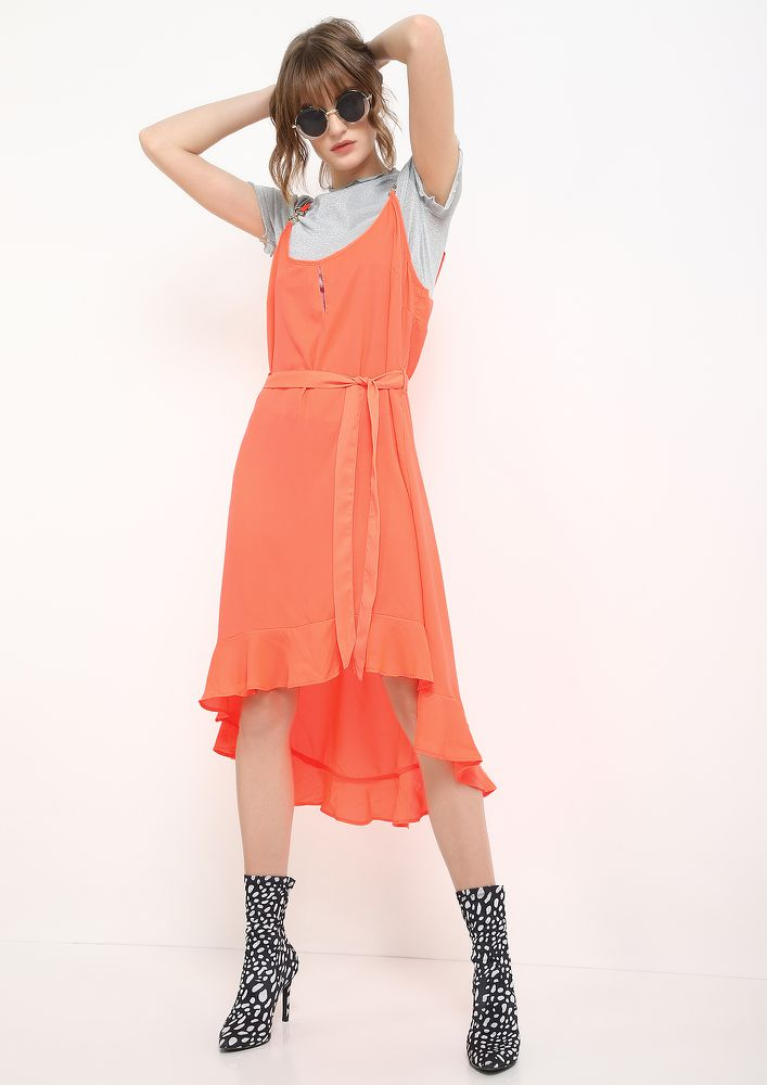 NOTHING IS THE NEW ORANGE MIDI DRESS