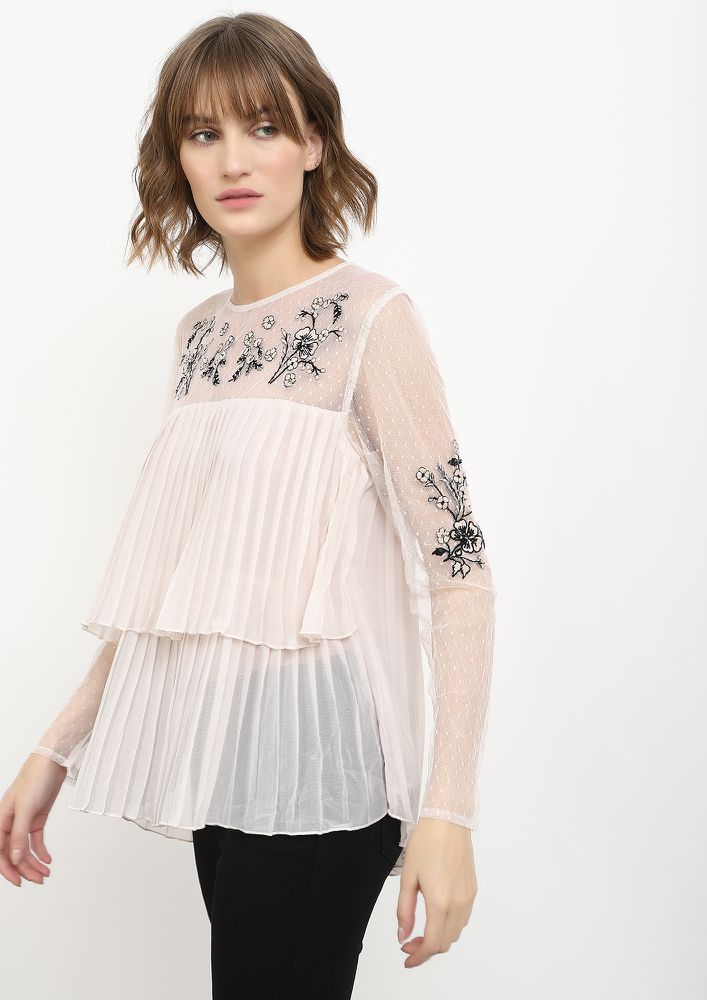 PLEASED TO PLEAT BLUSH PINK TUNIC TOP
