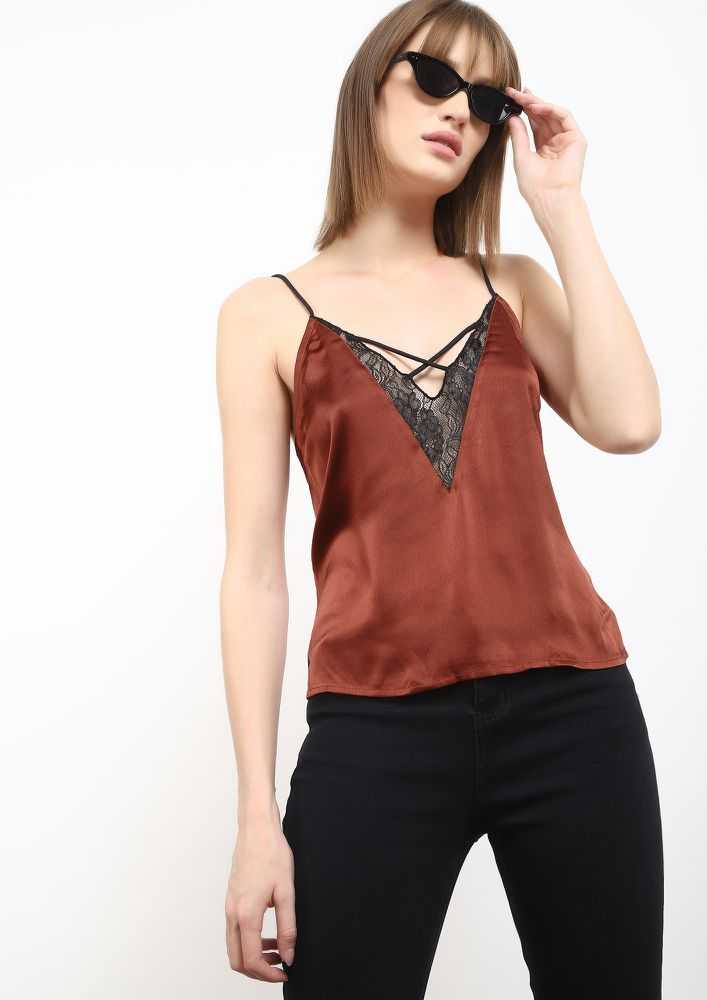 SATINDAY OUT MAROON CAMI TOP