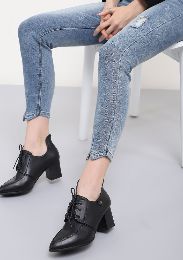 READY TO CLOCK-OUT BLACK HEELED SMART SHOES