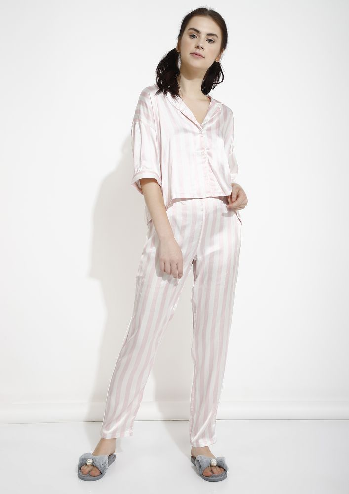 DREAMY LOUNGE PINK WHITE SLEEPWEAR SET