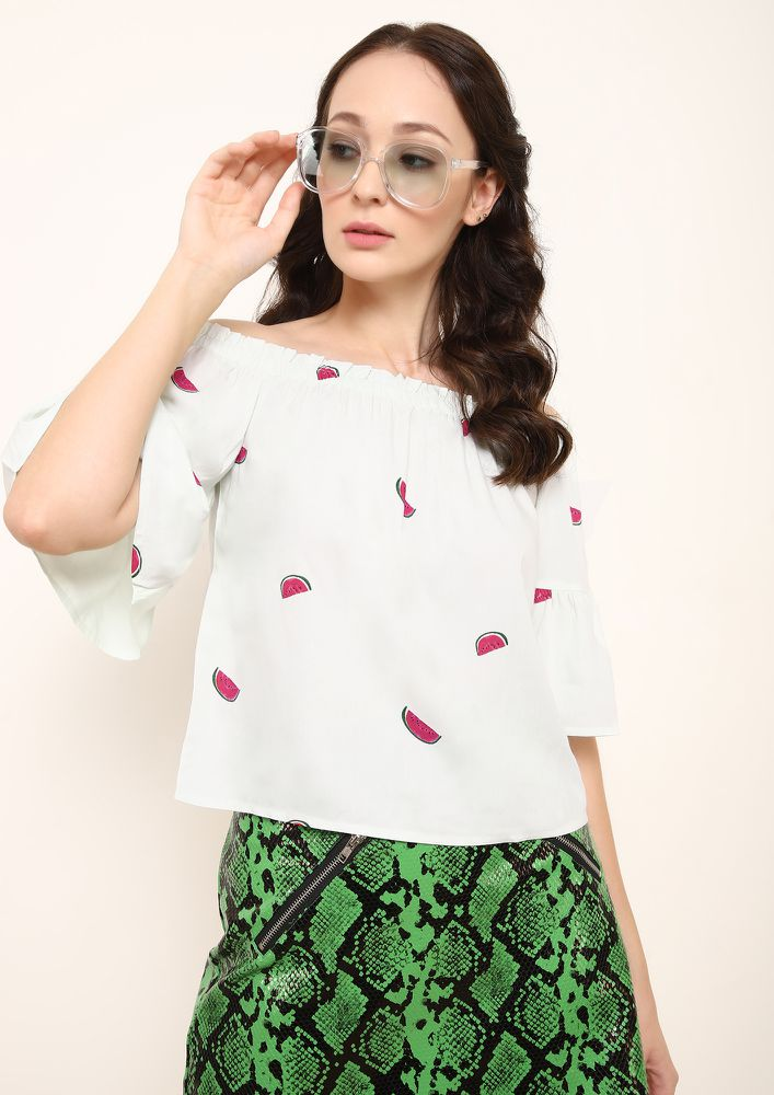 WHAT A MELON LIGHT MINT GREEN OFF SHOULDER TOP