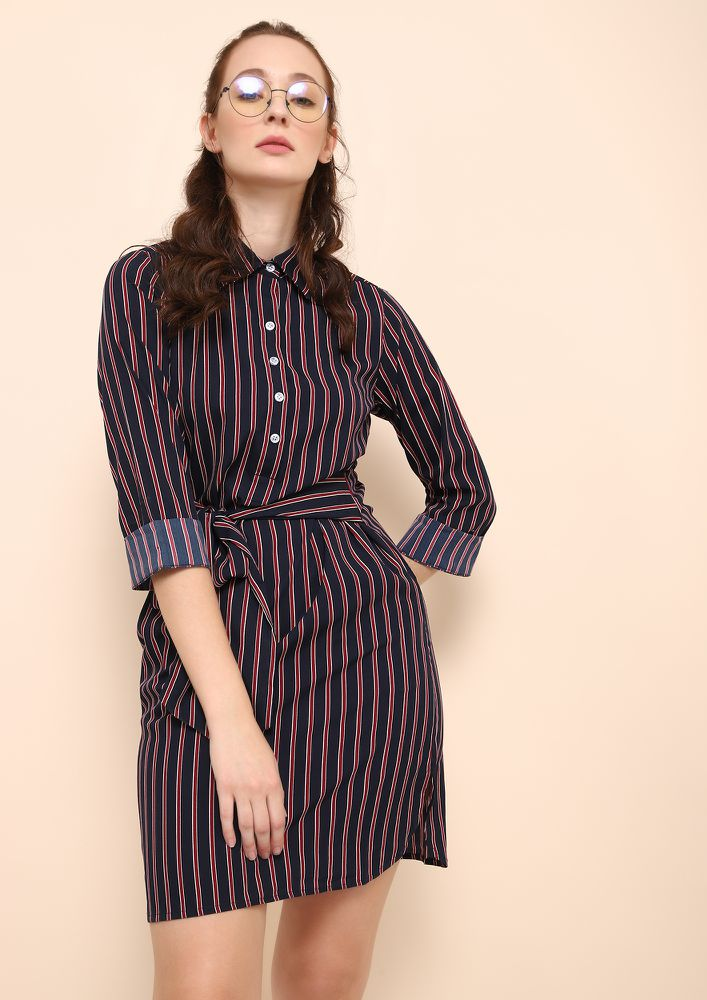 RUSHING BETWEEN DESK-TO-DRINKS NAVY SHIRTDRESS