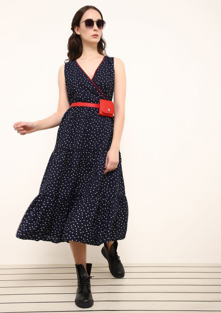 CAUGHT BY THE DOTS NAVY MIDI DRESS