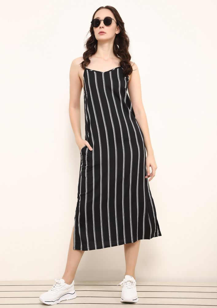 THE RIGHT DIRECTION BLACK WHITE MIDI DRESS