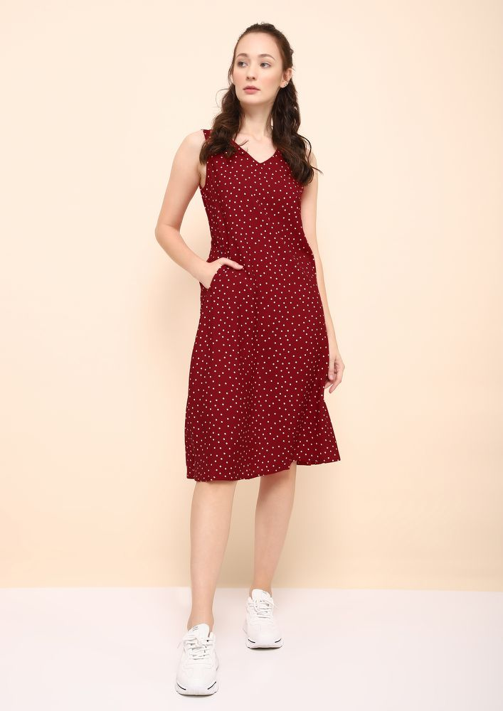 HOT FOR DOTS RED MIDI DRESS