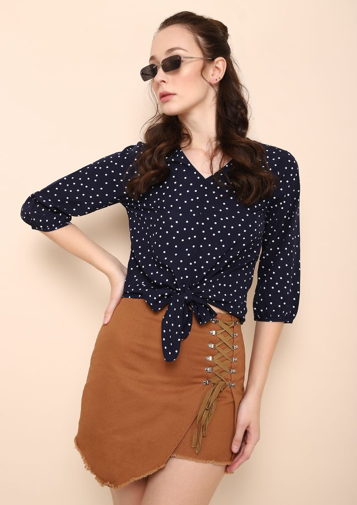 SPOTTED AND SORTED NAVY TOP