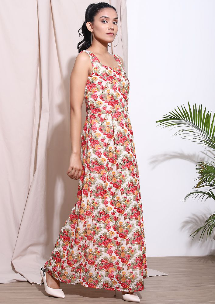 SOFT PETALS EVERYWHERE BEIGE MAXI DRESS