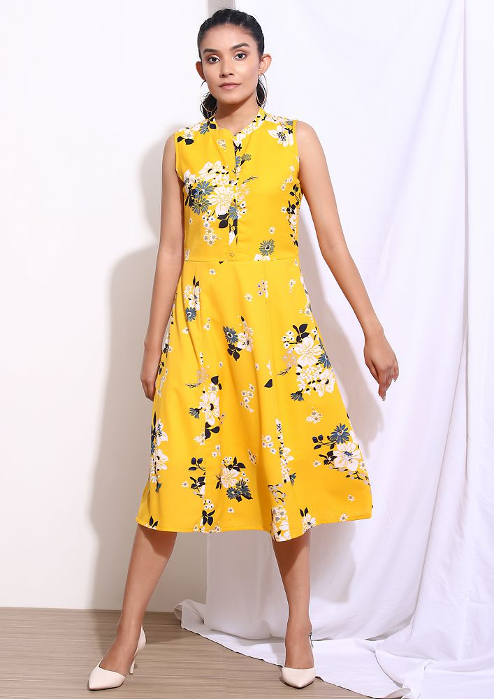 ALL BRIGHT ALL SUNNY YELLOW MIDI DRESS