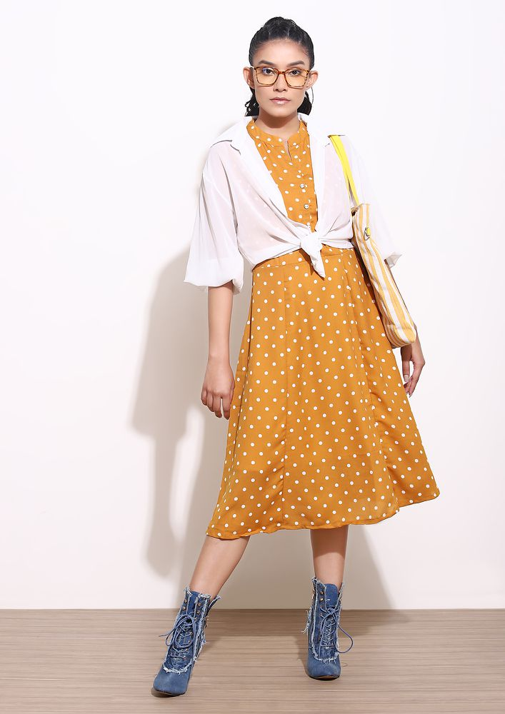 DOT BY DOT MUSTARD YELLOW MIDI DRESS