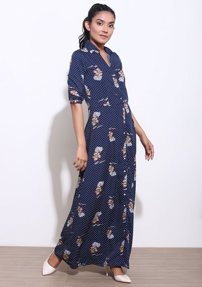 ALL RETRO FEELS BLUE MAXI DRESS