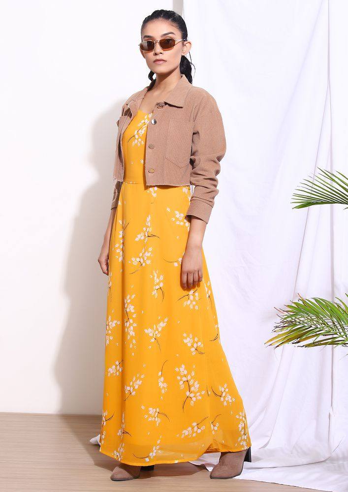SOFT TOUCH FLORALS MUSTARD YELLOW MAXI DRESS