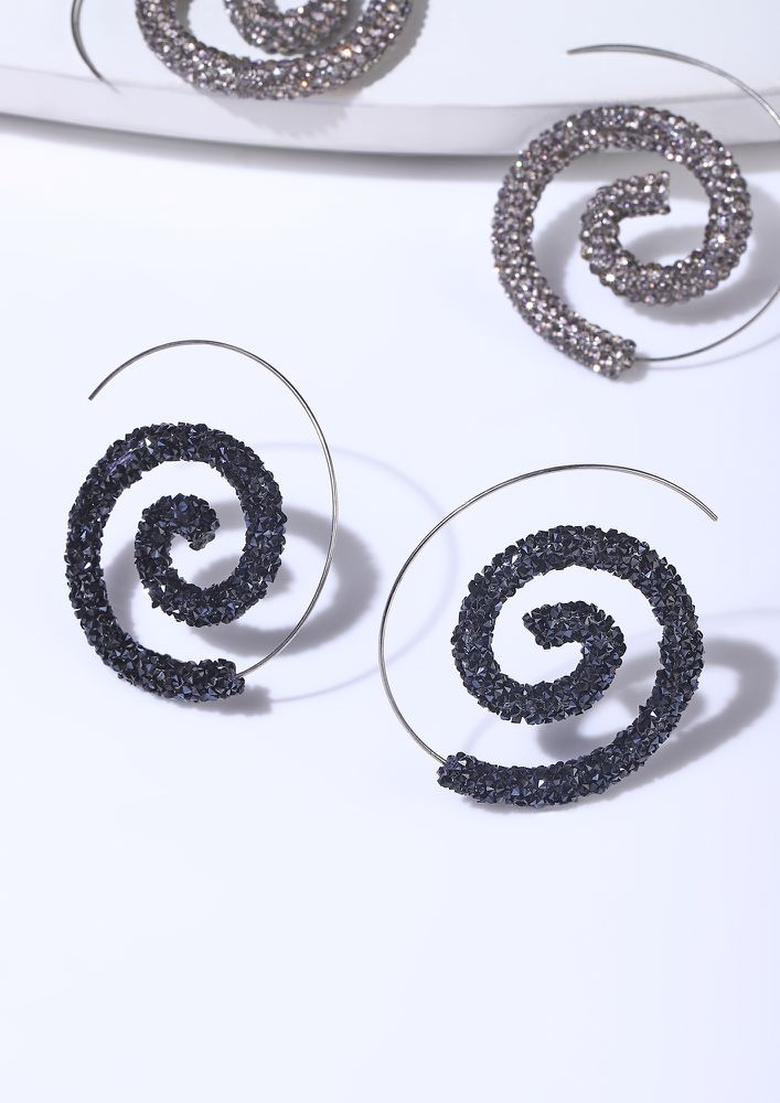 GOSS BABE MAGIC SPIRALS BLACK EARRINGS