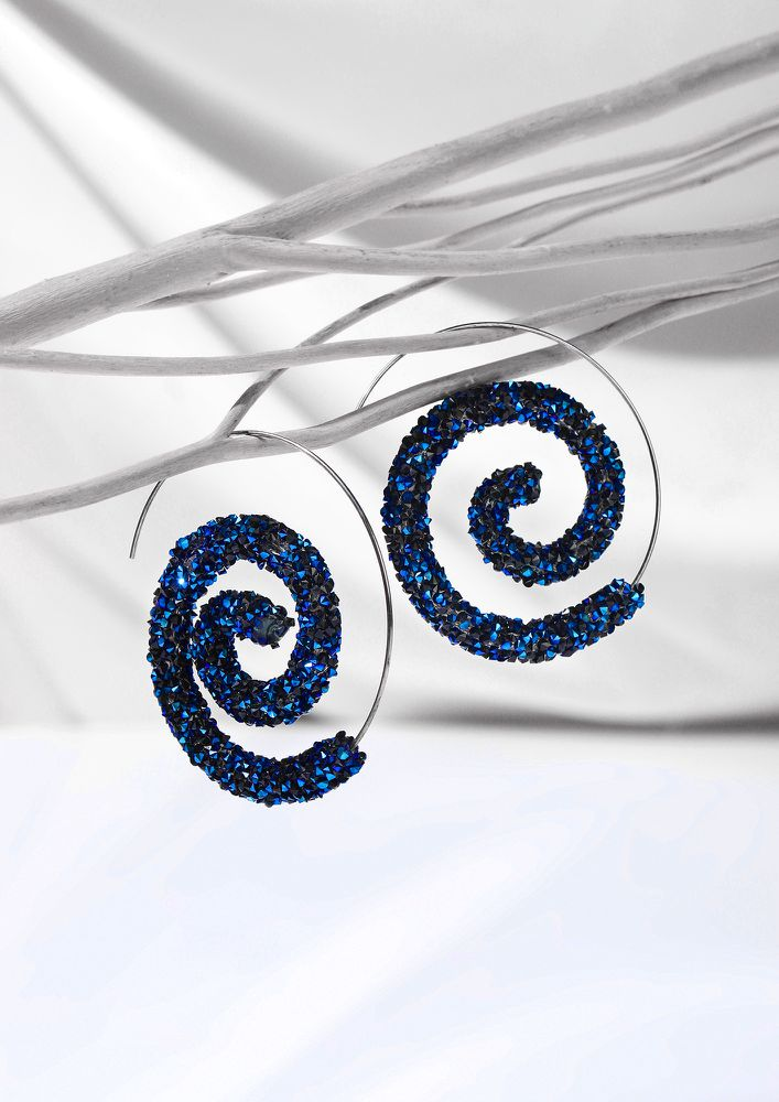 GOSS BABE MAGIC SPIRALS BLUE EARRINGS