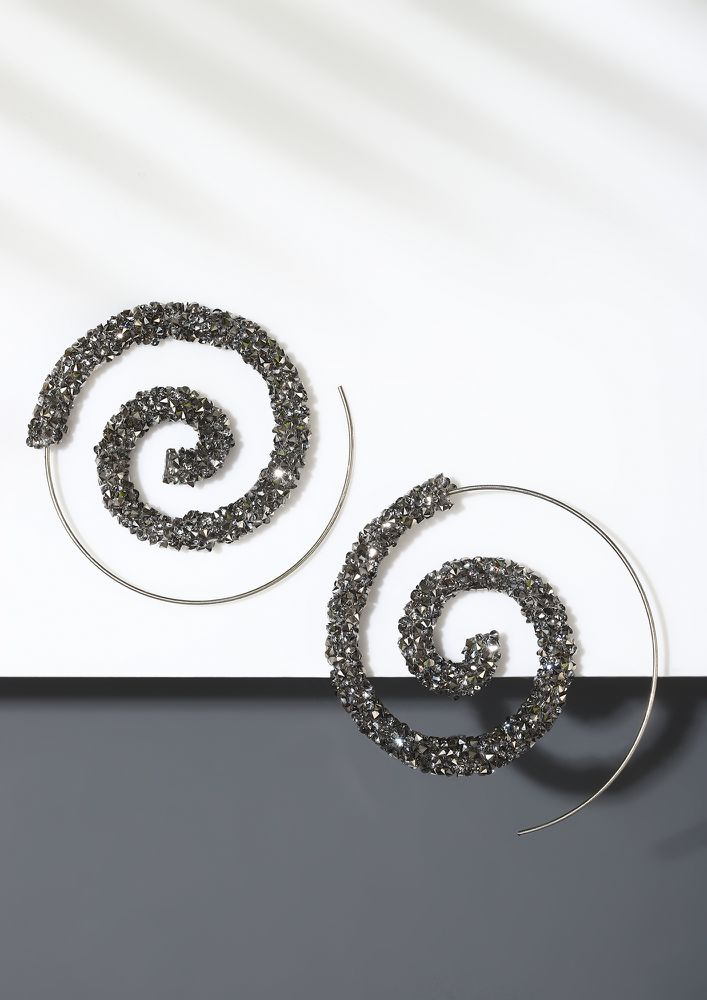 GOSS BABE MAGIC SPIRALS GREY EARRINGS