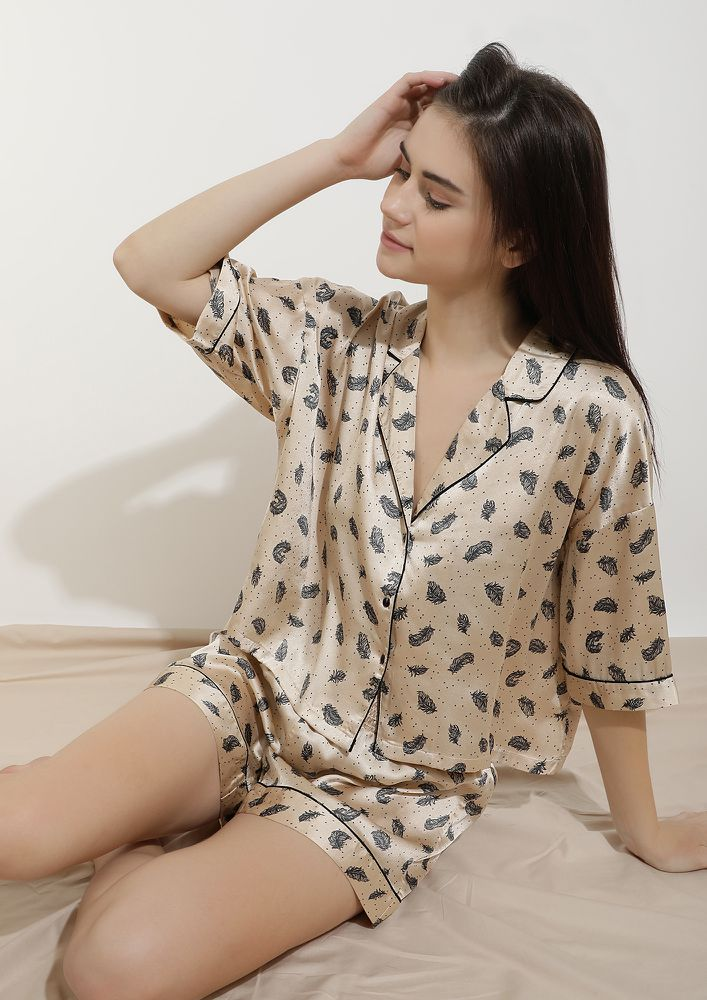 SLEEP MODE ON BEIGE SLEEPWEAR SET
