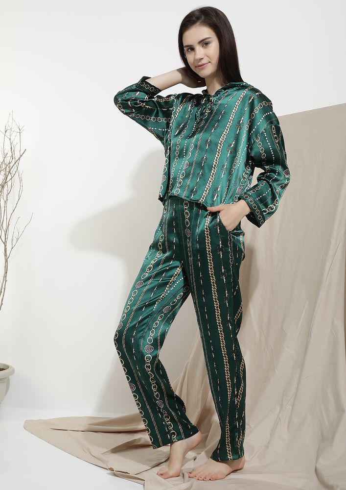 I AM GOING TO DOZE OFF GREEN SLEEPWEAR SET