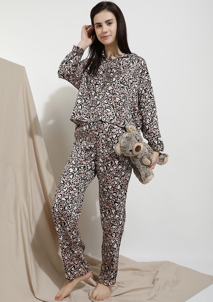 DREAMY PARADISE BROWN SLEEPWEAR SET