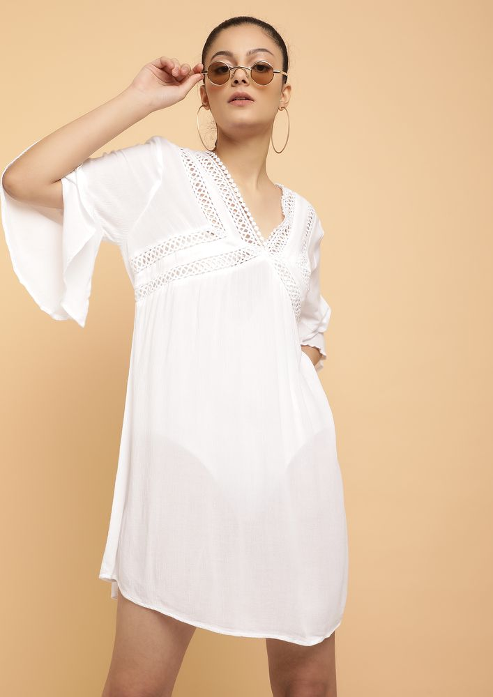 PRISTINE AS THEY SAY WHITE SHIFT DRESS