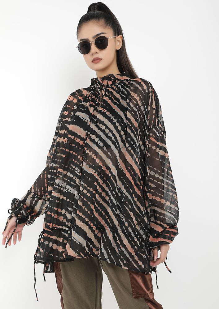 ALL OUT TO RELAX BLACK TUNIC TOP