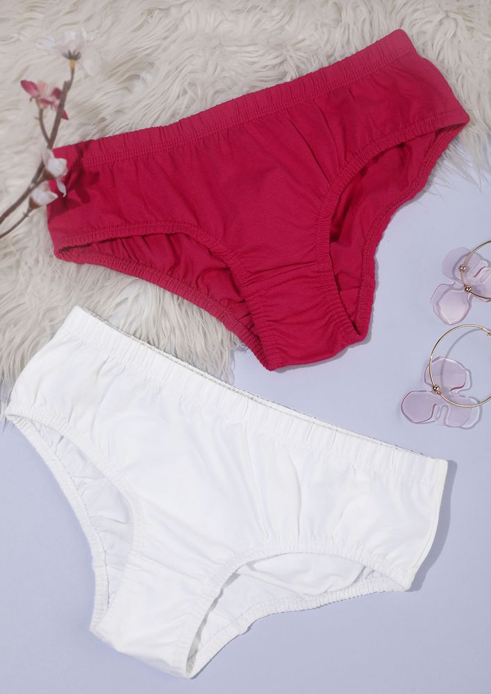 White Hot Pink Hipsters Set With Inner Elastic