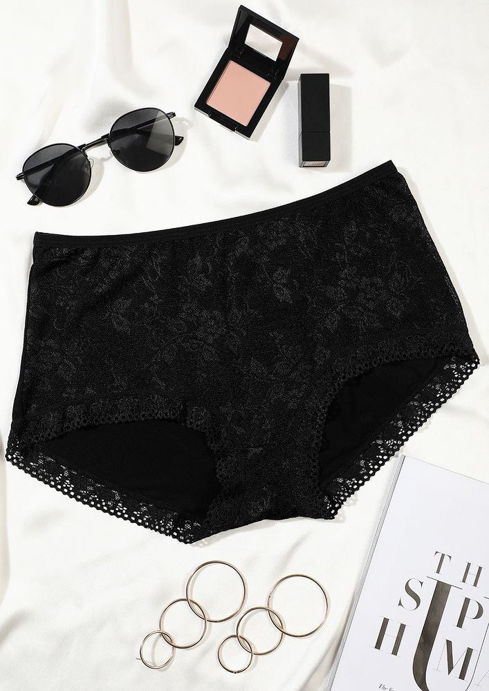 BLACK HIGH-WAIST HIPSTERS WITH LACE TRIMMING