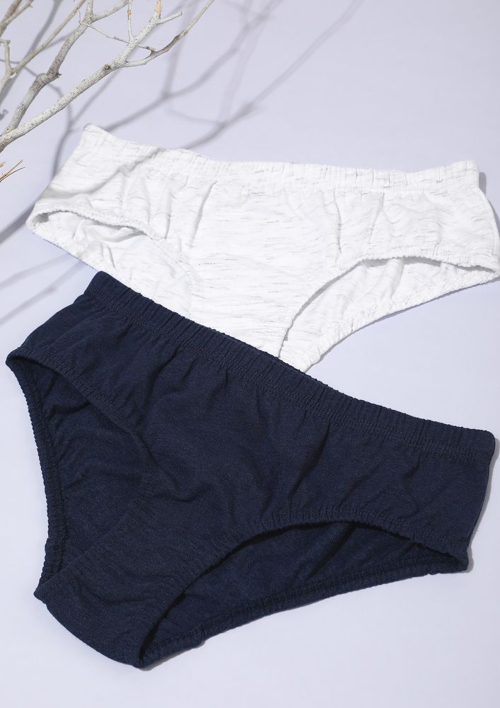 NAVY AND LIGHT GREY HIPSTERS SET WITH INNER ELASTIC