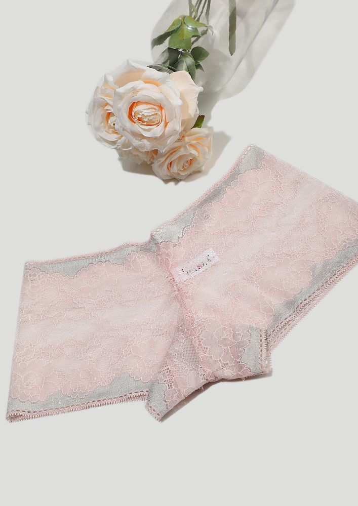 LACE ME UP IN PINK AND GREY BOYSHORTS