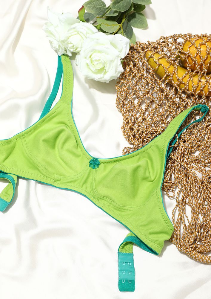 PLAY IT COOL PARROT GREEN NON PADDED FULL COVERAGE BRA