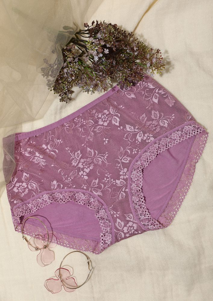 LIGHT PURPLE LACEY HIGH WAIST HIPSTERS