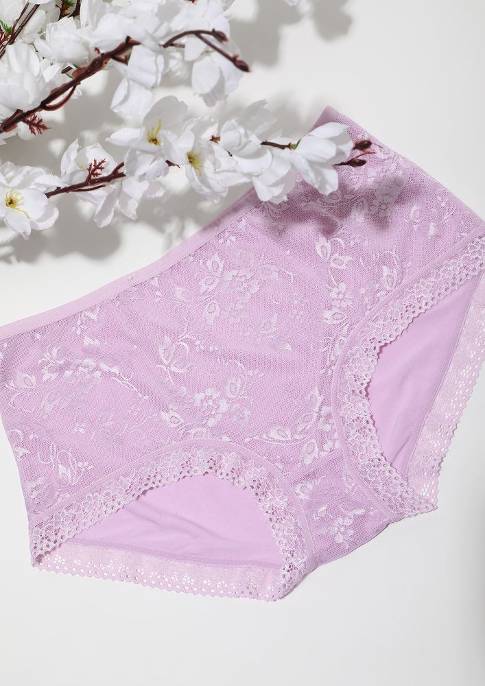 LIGHT PINK PLUM HIGH WAIST HIPSTERS WITH LACE TRIMMING