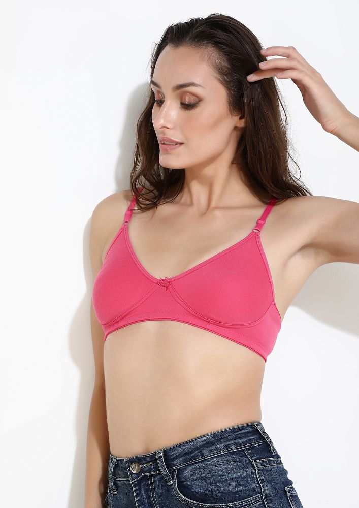 DELICATELY YOURS HOT PINK NON PADDED NON WIRED BRA