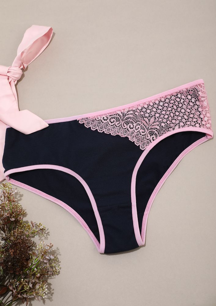 Navy Lace Hipster With Outer Elastic
