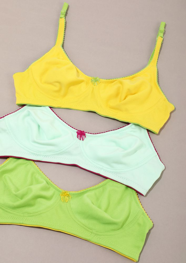 DELICATE GREEN, YELLOW & MINT NON PADDED NON WIRED BRA COMBO