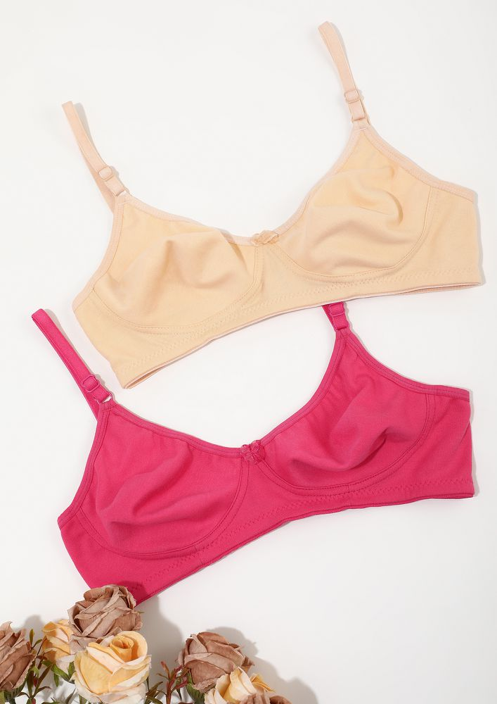 DELICATE PEACH & HOT PINK NON PADDED NON WIRED BRA COMBO