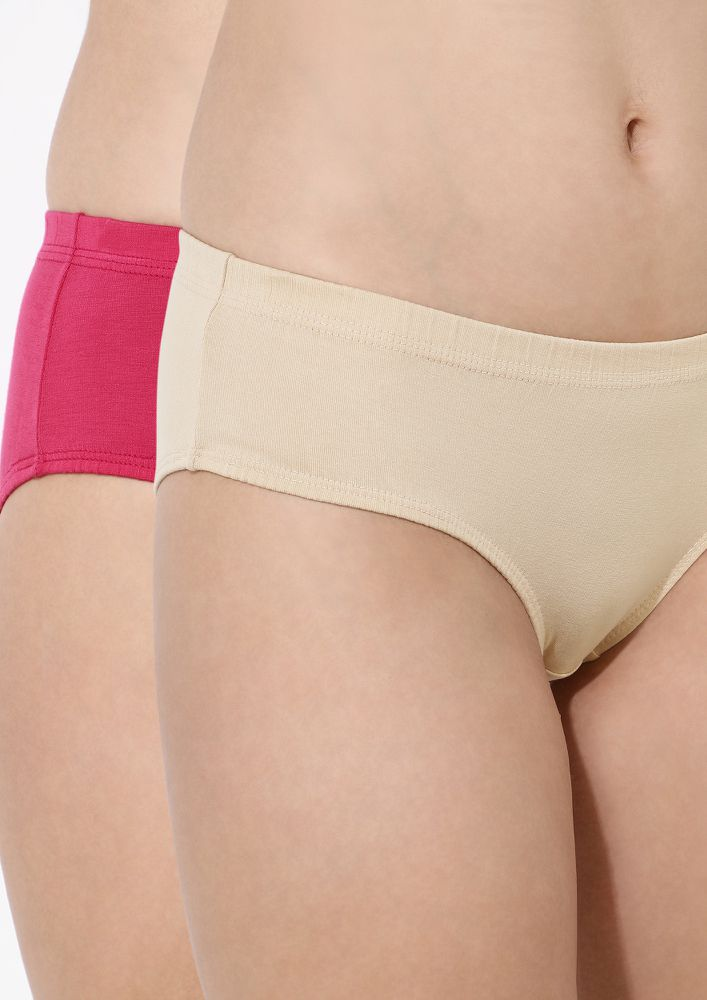 FITTING YOU WELL PINK & SKIN HIPSTER WITH INNER ELASTIC COMBO