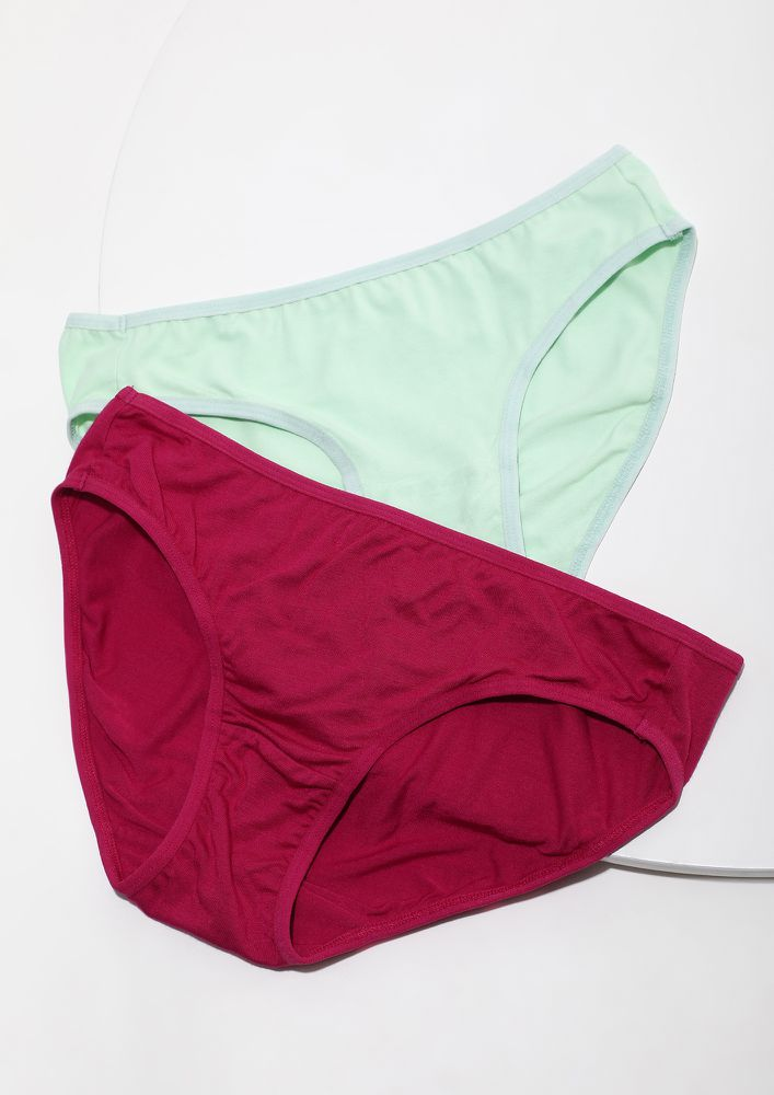PINK GREEN HIPSTERS SET WITH INNER ELASTIC