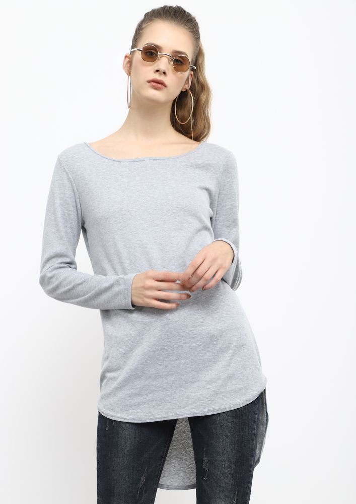 LONG WAY TO GO GREY LONGLINE T-SHIRT