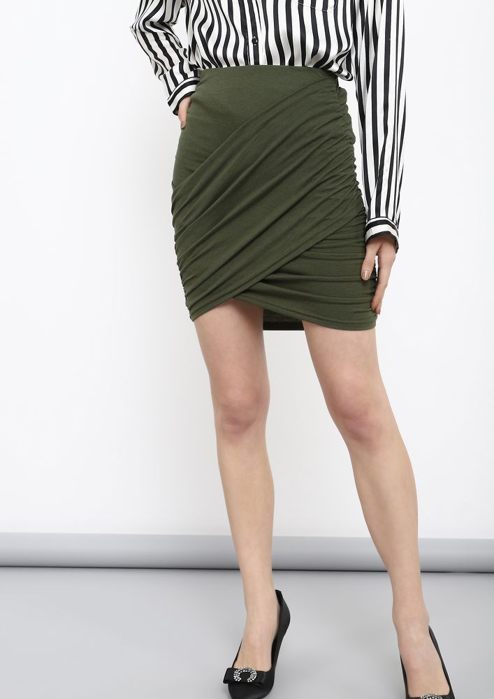 ABOVE THE EDGE OLIVE GREEN  MINI SKIRT