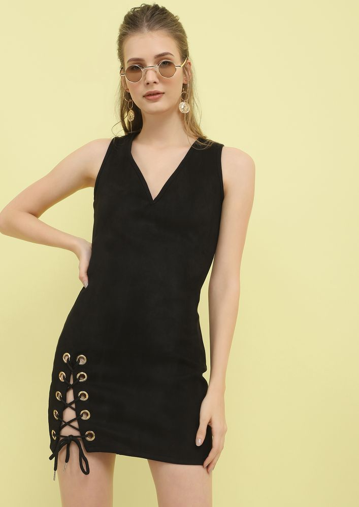 GONNA SUEDE YOU BLACK MINI DRESS
