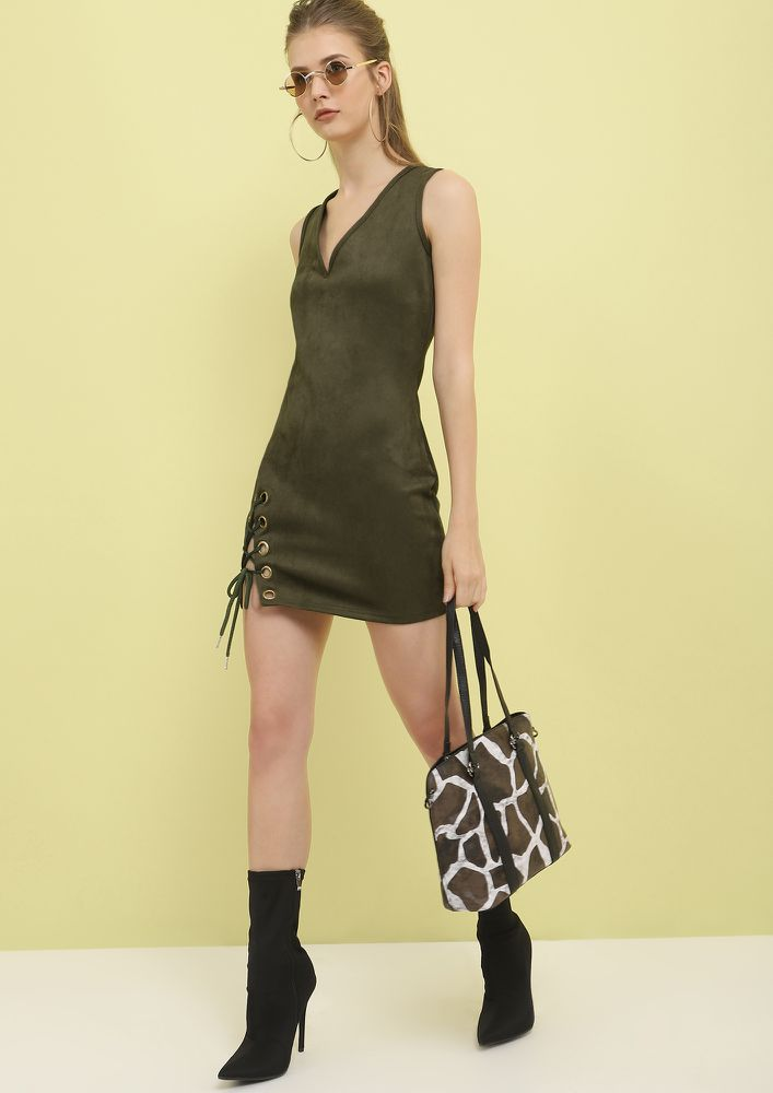 GONNA SUEDE YOU ARMY GREEN MINI DRESS