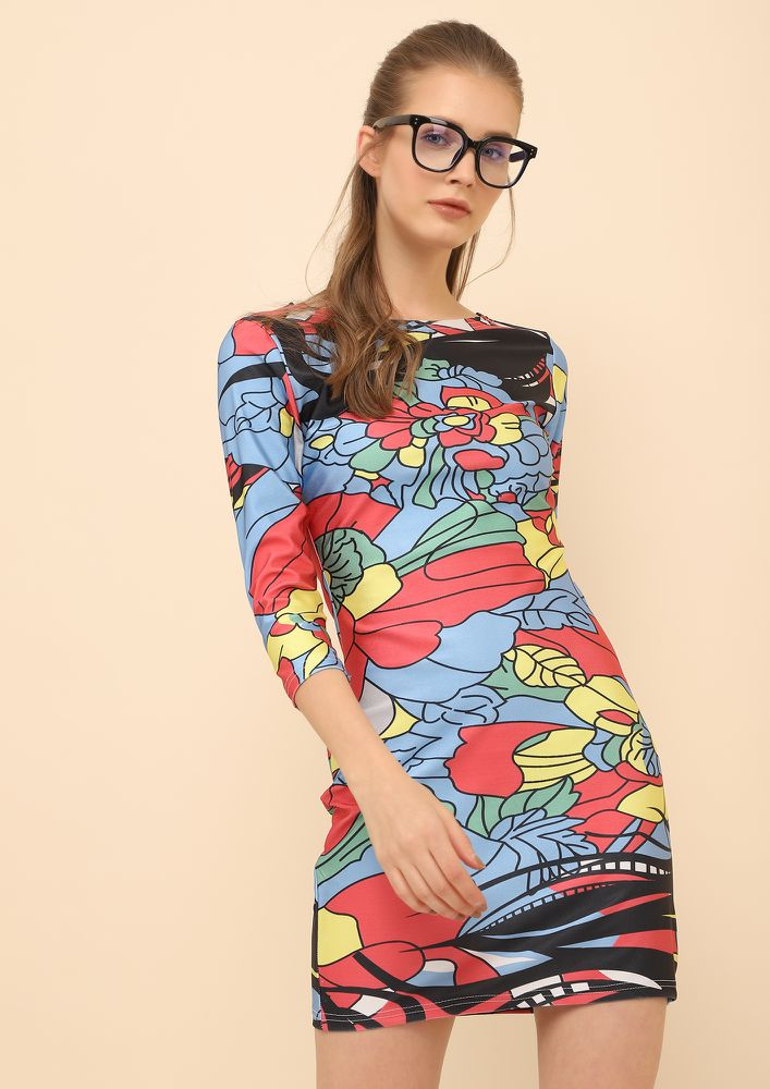 LIFE IN ABSTRACT BLUE RED BODYCON DRESS