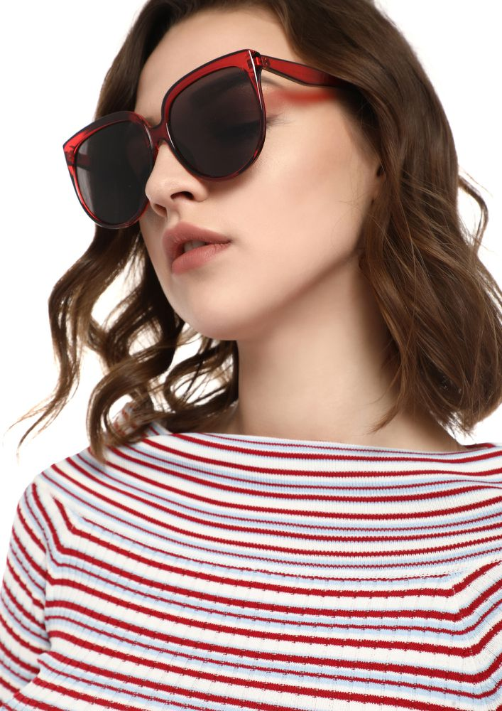 BEYOND REACH RED CATEYE SUNGLASSES