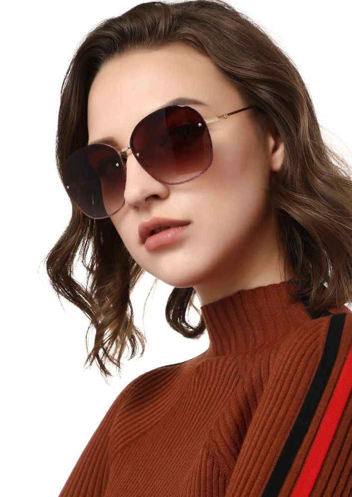SOMEBODY TO LOVE BROWN RETRO SUNGLASSES