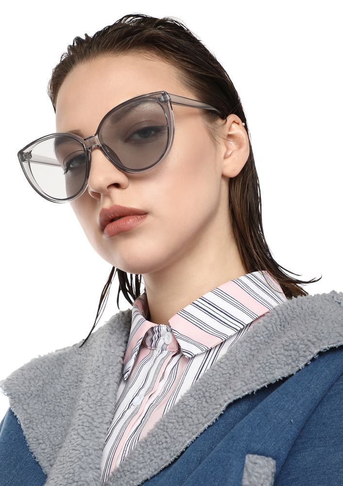 ALWAYS ON-POINT GREY CATEYE SUNGLASSES