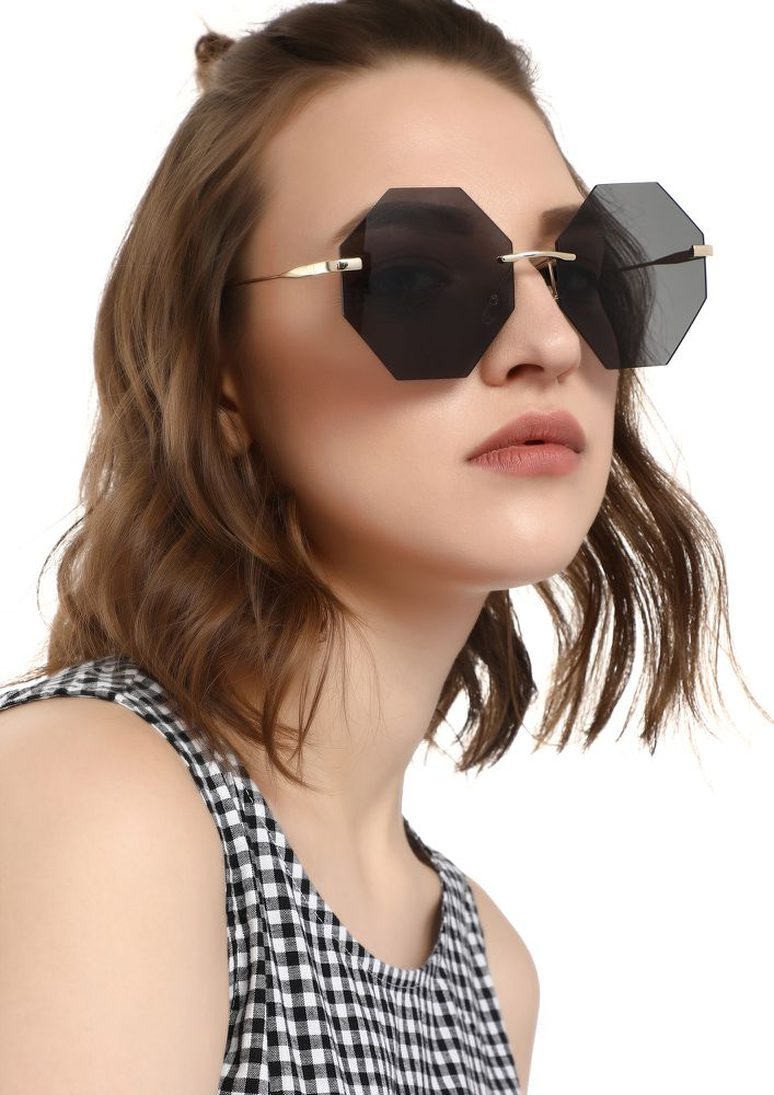 PERFECT ANGLE GREY RETRO SUNGLASSES
